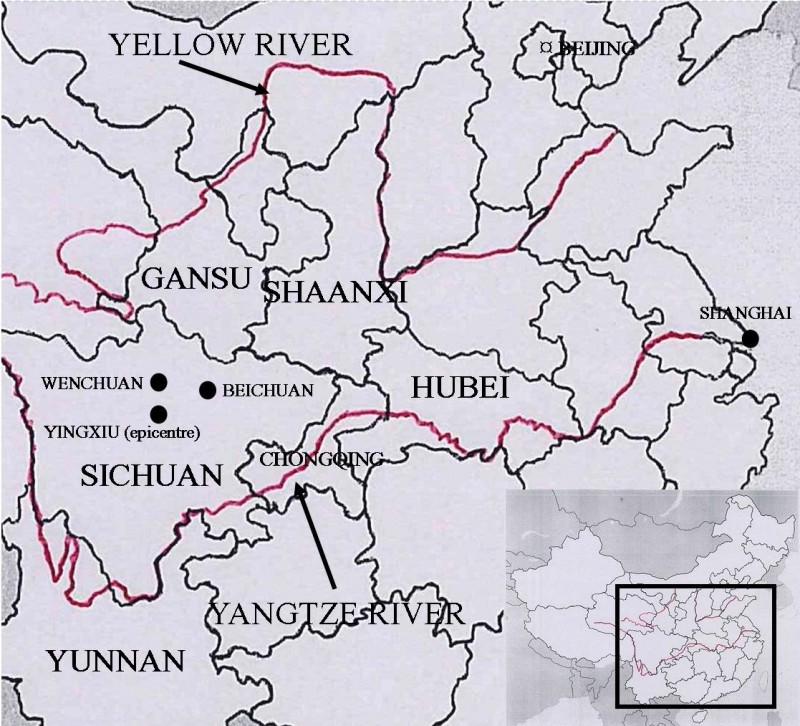 Wenchuan earthquake map, 2008